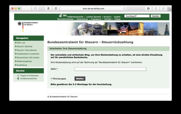 Gefälschte Internetseite des BZSt
